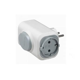 050665 Adaptor SK 2 iesiri + buton extragere, Alb - 050665 - 3245060506650
