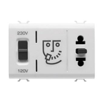Priza aparat ras EU/USA cu transformator 3 module CH/WH - GW10331 - 8011564262515
