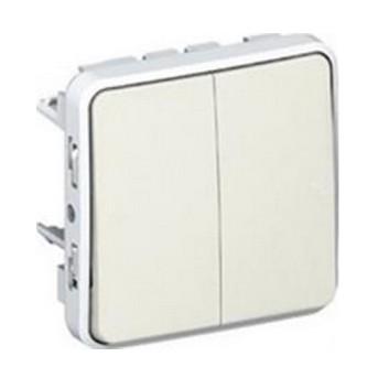 Plexo Intrerupator dublu 10AX, IP55 Alb - 069625 - 3245060696252