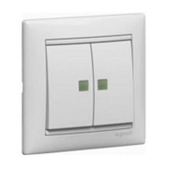 774213 Valena Intrerupator DBL 2 indicatoare BR AL - 774213 - 3245067742136