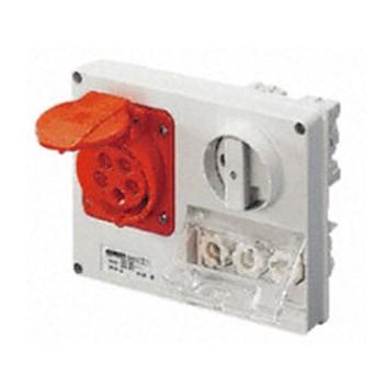 Priza cu interblocare 32A 2P+T, orizontal cu port fuzibil, Albastru, IP44 - GW66137 - 8011564029439