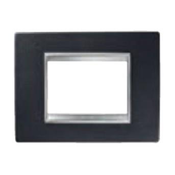 Rama Lux 6 module CH/Negru (piele) - GW16206PN - 8011564273023