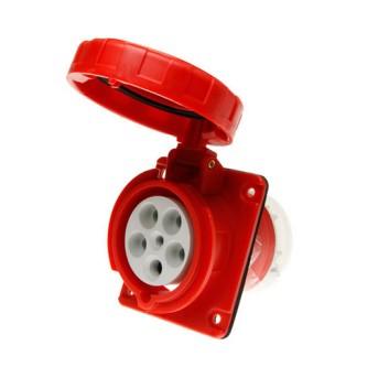 Priza industriala fixa 10G 3P+N+T 63A 400V 6h, Rosu, IP67 - GW63254 - 8011564023543