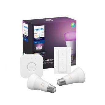 Pachet 2 becuri inteligente LED RGB Philips Hue ambianta alba/color, WiFi/Bluetooth , E27, 9W - 929002216806 - 8718699701352