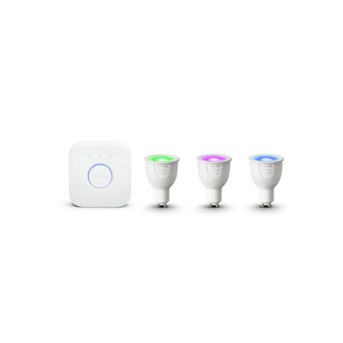 Starter Kit Philips HUE RGB bluetooth 5.7W GU10 3 becuri RGB + 1 bridge - 929001953103 - 8718699629274