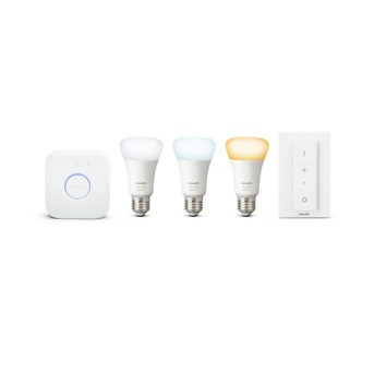 Starter Kit Philips HUE Ambiance A19 bluetooth 8.5W 806lm 2200-6500K E27 3 becuri+1 bridge+1 dimmer - 929002216903 - 8718699673345