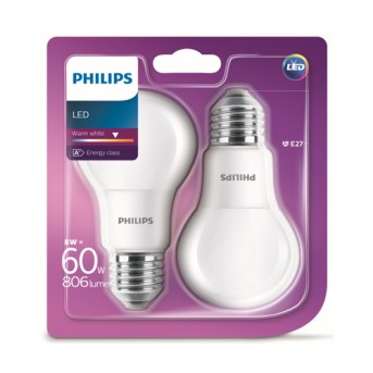 Bec LED Philips bulb A60M FR Set 2x8 60W 2700K 806lm E27 - 929001234361 - 8718696576830