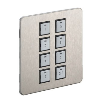 Dynalite DPNE981-SF Brushed stainless steel panel with blue LED indicator 8 Button - 913703201909 - 8710163508207