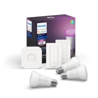 Philips HUE RGB Starter Kit 3 becuri RGB bluetooth + 1 consola + 2 intrerupatoare dimabil - 929002216805 - 8718699696917