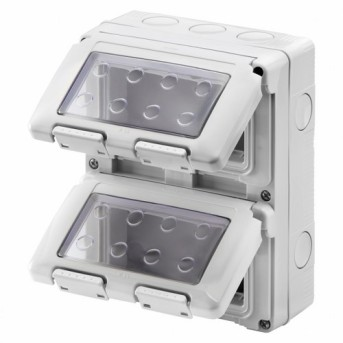 Carcasa aparenta pentru 8 module (4x2) IP55 SY/Gri - GW27051 - 8011564055407