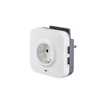 694671 Fisa 1x2P+T si 2x incarcator USB, cu suport telefon si cablu micro USB 1m - 694671 - 3245066946719